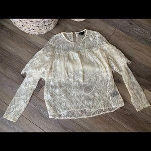 Cream lace long sleeve blouse, ruffle along breast